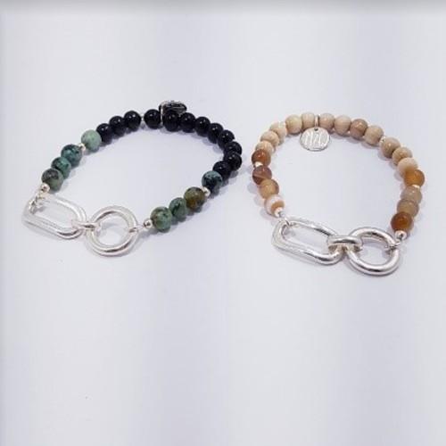 À gauche, le bracelet est présenté avec la Turquoise d'Afrique. À droite, le bracelet est présenté avec de l'agate rose orange